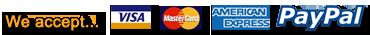 We accept... VISA, Mastercard, American Express and PayPal